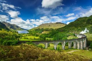 Шотландія, поїзд, гори, небо, міст, краєвид, Glenfinnan, Lochaber, Паровоз, хмари, природа