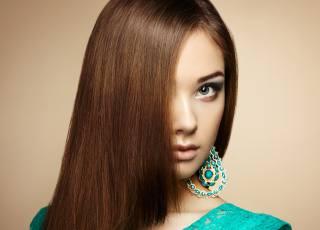 девушка, шатенка, лицо, длинные волосы