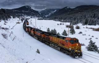 поїзд, вагони, зима