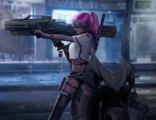 cyberpunk, Катана, ducati, скло, зброя