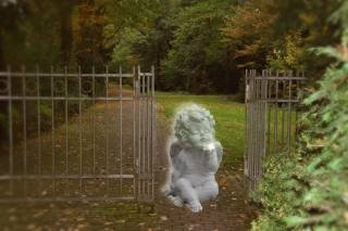 ангел, хвіртка, парк, осінь, фотоманіпуляція