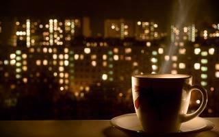 кружка, кофе горячий, ночь, огни