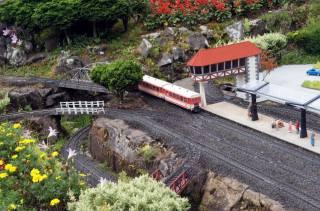 дорога, залізна, поїзд, станція, люди, макет, мініатюра, світ