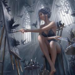 цвета, девушка, Фэнтези, Legs, чулки, эльф, цифровое искусство, художественное произведение