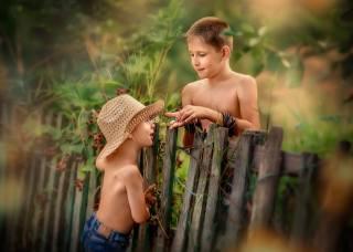 діти, хлопчики, друзі, гра, природа, літо, паркан