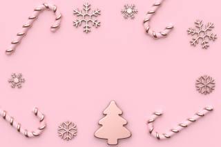 новий, рік, зима, прикраси, сніжинки, фон, рожевий, нові, рік, зима, рожевий