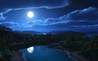 краса, ніч, нічний, природа, краєвид, тропіки, тропічний, ліс, джунглі, затока, протока, фазенда, гора, гори, гірський, місяць, Місячний, зірка, зірки, небо, вода