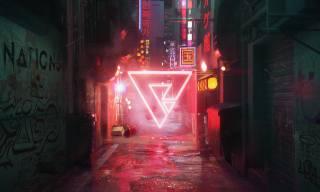 cyberpunk, Неон, абстрактний, трикутник