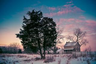 zima, chaty, Gettysburg National Military Park Pennsylvania, sníh, stromy, příroda