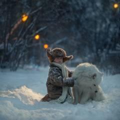 dítě, chlapec, dítěte, Zvíře, pes, pes, самоед, příroda, zima, sníh, stromy, KEŘE
