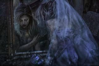Manuel Frulio, темная фантазия, Фэнтезийная девушка, mirror, reflections