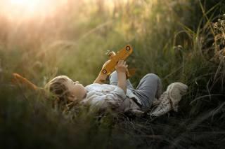 dítě, chlapec, dítěte, příroda, tráva, hračka, letadlo