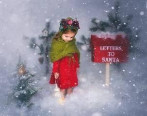 dítě, dívka, dítě, šaty, šátek, karkulka, dekorace, výzdoba, zima, sníh, mail, box, vánoční stromky, Hračky, svítilna, svátek, Nový rok, Vánoce