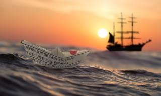 3d, графіка, цифрове мистецтво, море, корабель, кораблик, захід, сонце