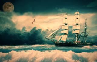 photoshop, правка, fantasy, sailboat, the sky, sea