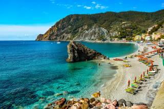 sea, town, the beach, rock, hills, resort