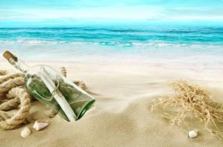 summer, sea, the beach, shore, bottle, letter
