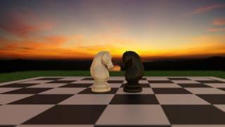 шахи, 3Д, графіка, коні, кінь, захід, дошка, шахматная, блендер, blender, Cycles - Blender 3D