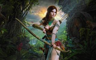 дівчина, амазонка, Лара, Крофт, мистецтво, ліс, природа