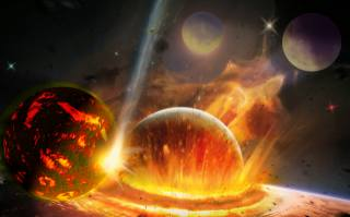 planet, space, stars, fantasy, cataclysm