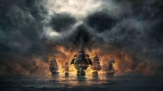 ship, skull, clouds, sea, fire