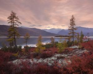 podzim, jezero, hory, foto, Ирина Абатурова