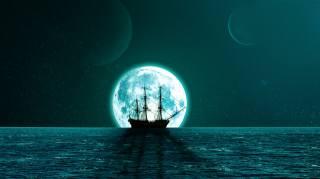 ніч, місяць, море, корабель, планети