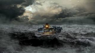old, boat, lamp, storm, sea