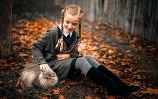 осень, кошка, девочка, прелесть, sergey piltnik