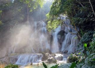 водопад, деревья, Лаос