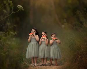children, girls, dresses, nature, summer, track, watermelon