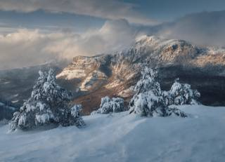 зима, гори, сніг, Крим, Росія