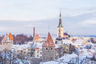 таллін, естонія, церква, зима, вдома, сніг, місто