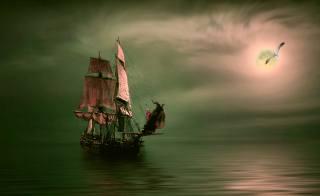 вітрильник, море, ніч