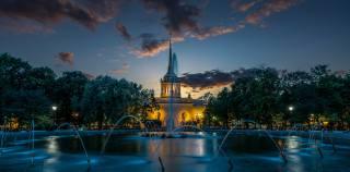 вечір, Фонтан, санкт-петербург, Alexander Garden, місто