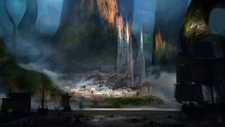 замок, гори, скелі, арт