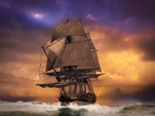 корабель, хвилі, небо