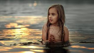 children, girl, bathed