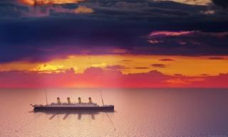 Титанік, небо, хмари, океан