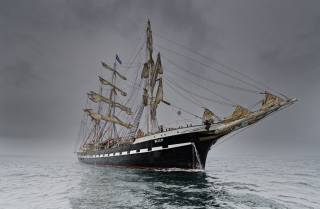 корабель, вітрильник, щогли, море, туман