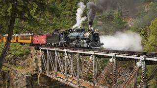 паровоз, дым, вагоны, мост