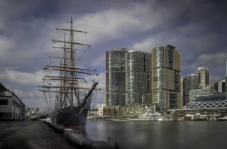корабель, вітрильник, щогли, пристань, місто
