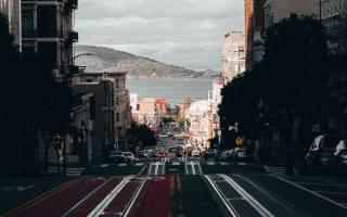 місто, дорога, узбережжя, води, Каліфорнія, Дивитися, Вулиця, пагорби, Будівель, бей, trolley, Сан-Франциско