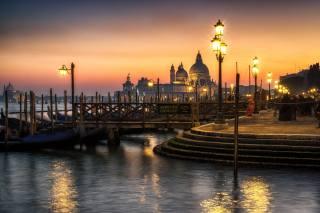 місто, вечір, освітлення, ліхтарі, Італія, Венеція, собор, набережна