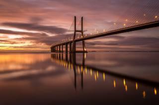 міст, васко-да-гама, Португалія, ранок, світанок, річка