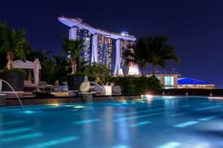 Сінгапур, ніч, басейн, місто