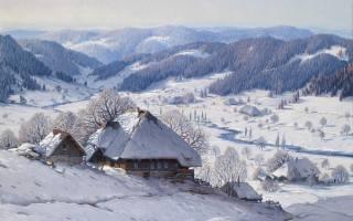winter, snow, the village, houses, nature, art