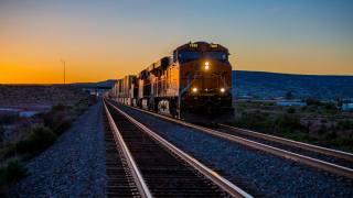 локомотив, поезд, железная дорога, закат
