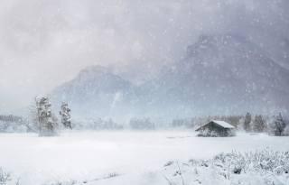 the house, snow, Blizzard, winter, mountains