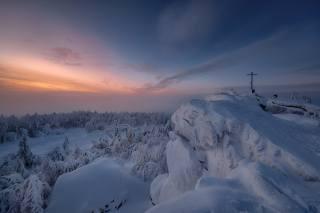 зима, сніг, дерева, краєвид, захід, гори, природа, Пермский край, Андрей Чиж, гора Крестовая